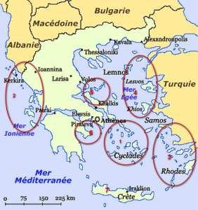 Mapa de los archipiélagos griegos.