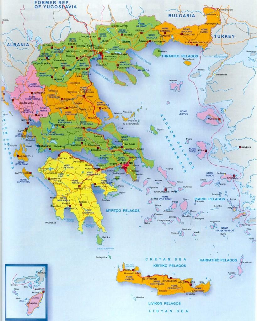 Mapa de Grecia y sus islas