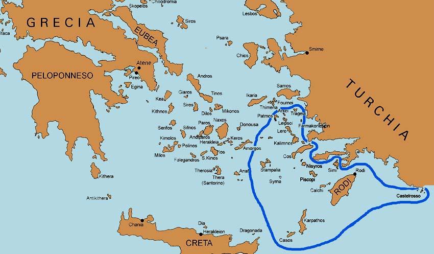 Mapa de las Islas Dodecaneso