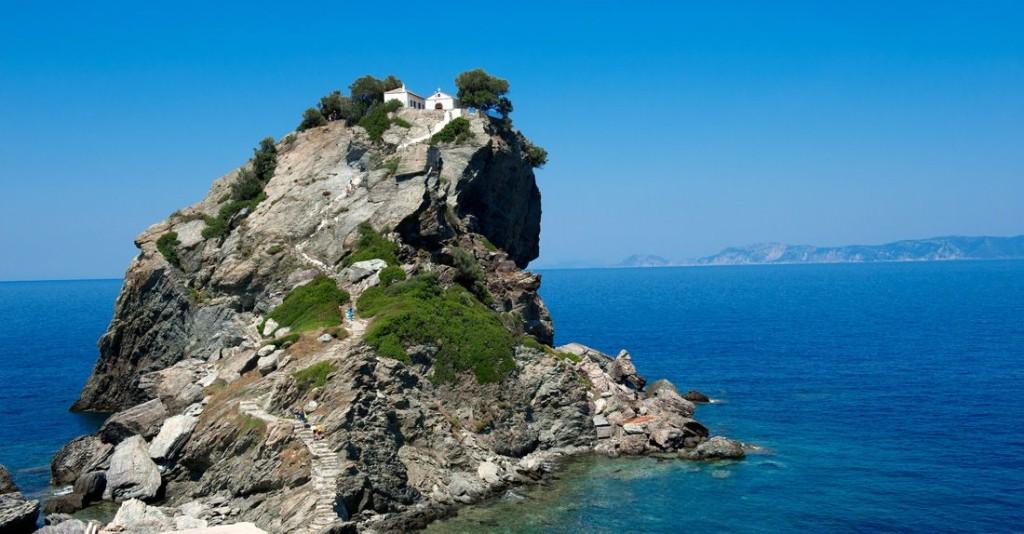 Iglesia de Agios Ioannis, conocida por la película Mamma Mia