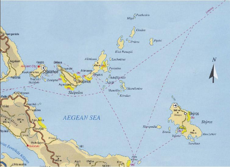 Mapa de las islas Espórades