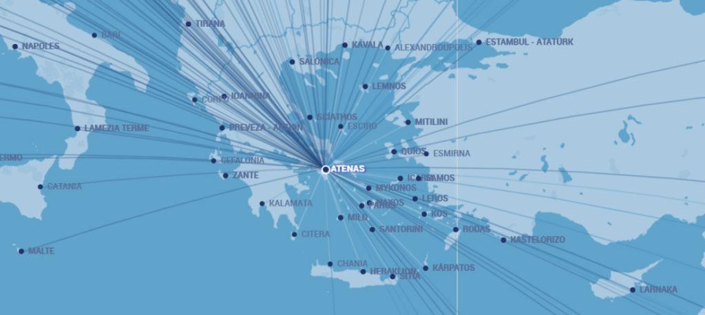 Atenas como nodo de distribución de vuelos con los aeropuertos de las islas griegas