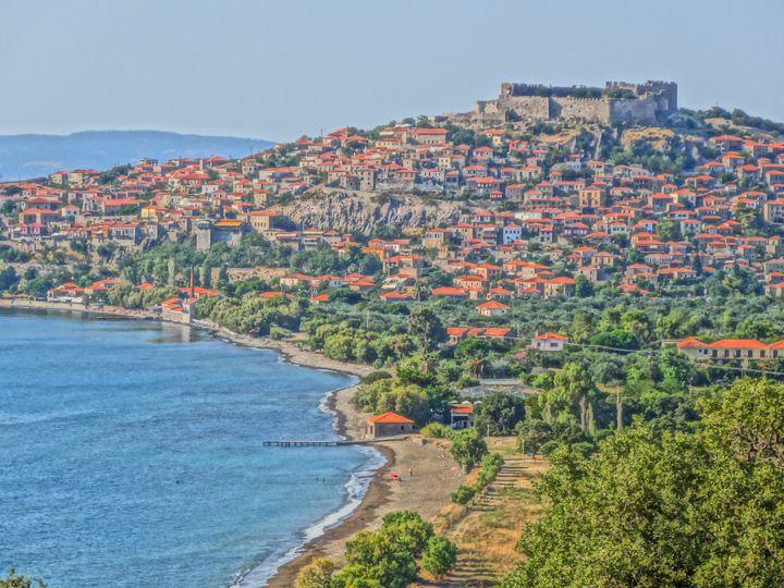 Fortalece de Molyvos en la isla de Lesbos